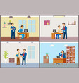 work in office daily routine boss and employee vector image vector image