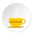 Yellow cup of tea icon flat style vector image vector image