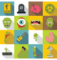zombie icons set parts flat style vector image vector image