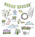 hello spring colored sketch set first flowers vector image