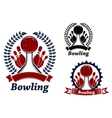Bowling game sporting emblem or symbol vector image
