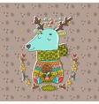 Merry Christmas cute cartoon hand drawn deer vector image