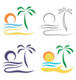 abstract palm tree on island vector image