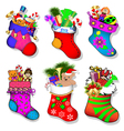 a set of socks with gifts for Chri vector image