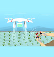 agriculture drone fly on paddy by remote control vector image vector image