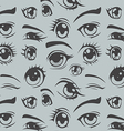 Anime style eyes seamless pattern vector image