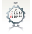 April 2014 - calendar vector image vector image