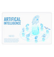 artificial intelligence landing page isometric vector image