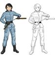 Asian Nunchuck girl in military uniform vector image vector image