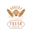 bakery best quality fresh bread logo template vector image vector image