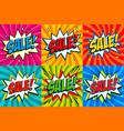 big sale set comic style template banners 4 sale vector image