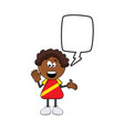 black african boy cartoon with speech bubble vector image vector image