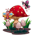 Butterflies flying near a giant mushroom vector image vector image