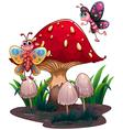 Butterflies flying near a giant mushroom vector image vector image