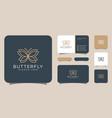 butterfly symbol minimalist line art logo design vector image