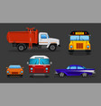 cartoon cars - school bus garbage truck vector image vector image