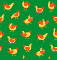 cartoon characters happy hens seamless pattern vector image vector image
