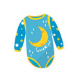 cartoon icon of blue baby bodysuit with long vector image