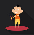 cartoon image of a cute little boy in shorts and vector image vector image