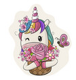 cartoon unicorn with flowers on a white background vector image vector image