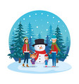 couple with daughters and snowman in snowscape vector image vector image