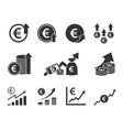 currency increase icon set euro money rate growth vector image vector image