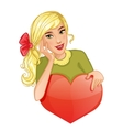 Cute cartoon blond girl holds red heart eps10 vector image