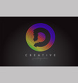 d letter logo design with colorful rainbow vector image vector image