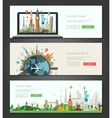 Flat design banners headers set with vector image vector image