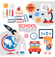 flat school elements composition vector image vector image