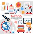 flat school elements composition vector image