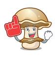 foam finger portobello mushroom mascot cartoon vector image vector image