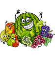 fruits group cartoon vector image vector image