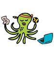 gambling octopus vector image vector image