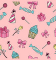 gifts and sweets isolated on pink seamless vector image
