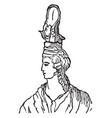 grecian female head-dress vintage engraving vector image vector image