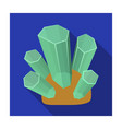 green natural minerals icon in flat style isolated vector image vector image
