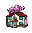 house gift real estate isolate on white vector image vector image
