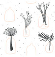 hygge seamless pattern of minimalistic glass vases vector image vector image