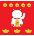 Lucky white cat sitting and holding golden coin vector image vector image