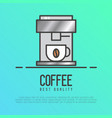 metal coffee machine with a hot coffee cup vector image