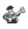 pirate with mug of beer sketch vector image vector image