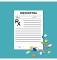 prescription rx form and pills vector image vector image