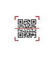 qr code in red scanning frame isolated on white vector image vector image
