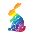 Rainbow rabbit with ornament vector image vector image