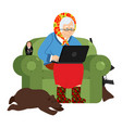 russian hacker grandmother and laptop old woman vector image vector image