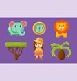 safari symbols set cute african animals trees vector image vector image