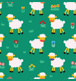 seamless pattern with sheep on green background vector image vector image