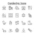 set gardening related line icons contains vector image vector image