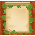 sheet paper on wooden board with leaf vector image